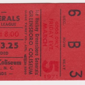 1971 Greensboro Generals ticket stub vs Charlotte Checkers 3/5/1971