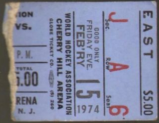 1974 WHA New Jersey Knights Ticket Stub vs Cleveland Crusaders