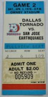 1976 NASL Dallas Tornado ticket stub vs San Jose Earthquakes