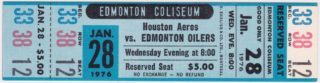 1976 WHA Edmonton Oilers ticket vs Houston Aeros