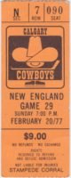 1977 WHA Calgary Cowboys ticket stub vs New England Whalers