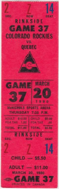 1980 Colorado Rockies ticket vs Quebec Nordiques
