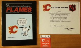 1980 NHL Calgary Flames inaugural home game ticket stub