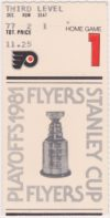 1981 1st Round Game 1 ticket stub Flyers vs Nordiques