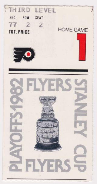 1982 1st Round Game 3 ticket stub Flyers vs Rangers