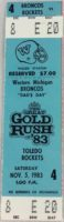 1983 NCAAF Western Michigan ticket vs Toledo