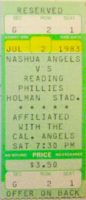 1983 Nashua Angels ticket stub vs Reading Royals
