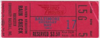 1984 Rochester Red Wings ticket stub vs Baltimore Orioles