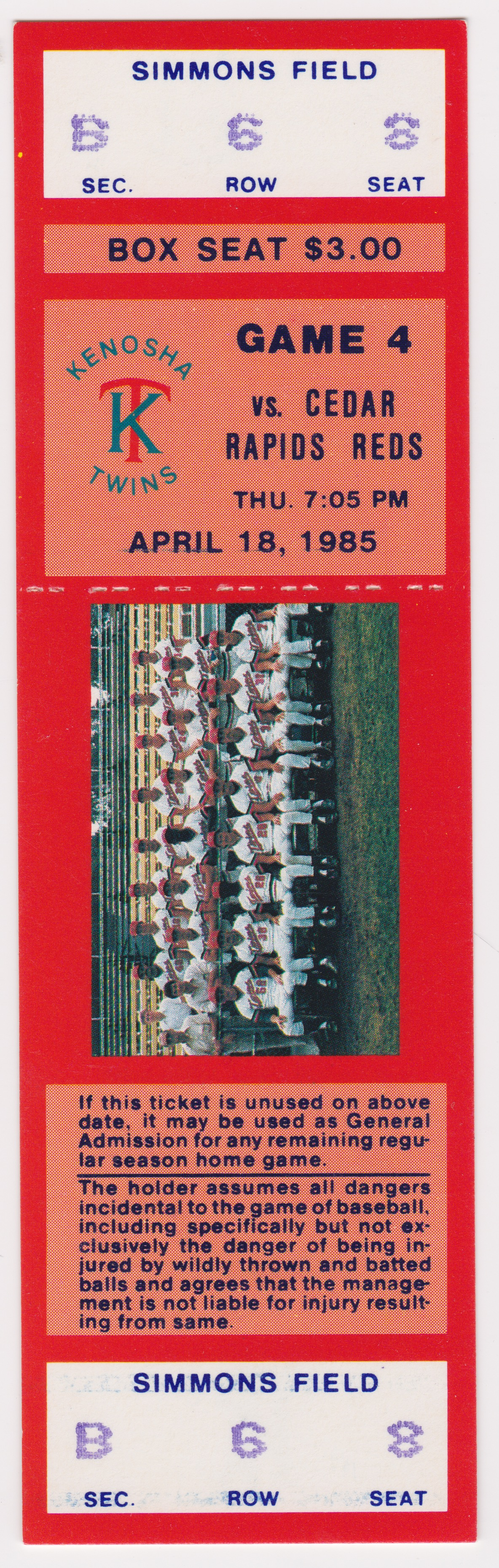 1985  Kenosha Twins ticket vs Cedar Rapids Reds