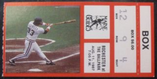 1987 Maine Guides ticket stub vs Rochester Red Wings
