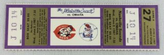 1987 Nashville Sounds unused ticket vs Omaha Royals