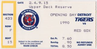 1990 Detroit Tigers opening day ticket stub vs Boston Red Sox