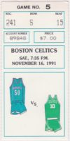 1991 Charlotte Hornets ticket stub vs Boston Celtics