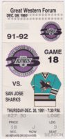1991 NHL Sharks first season ticket stub vs Kings