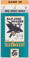1992 San Jose Sharks ticket stub vs Devils