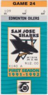 1992 San Jose Sharks ticket stub vs Oilers