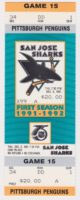 1991 San Jose Sharks ticket vs Penguins