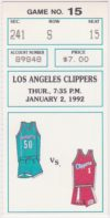 1992 Charlotte Hornets ticket stub vs Clippers