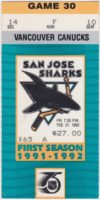 1992 San Jose Sharks ticket stub vs Canucks