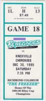 1995 Richmond Renegades ticket stub vs Knoxville Cherokees