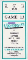 1995 Richmond Renegades ticket stub vs Roanoke Express