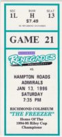 1996 Richmond Renegades ticket stub vs Hampton Roads Admirals