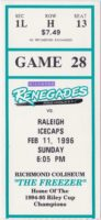 1996 Richmond Renegades ticket stub vs Raleigh Icecaps