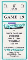 1996 ECHL Richmond Renegades ticket stub vs South Carolina