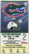 2004 NCAAF Florida Gators ticket stub vs Eastern Michigan