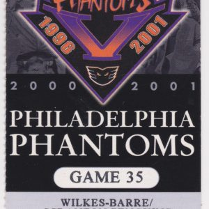 2001 AHL Philadelphia Phantoms ticket vs WBS Penguins 3/13/2001