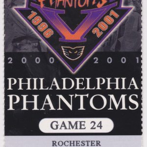 2001 AHL Philadelphia Phantoms ticket vs Rochester Americans 1/17/2001