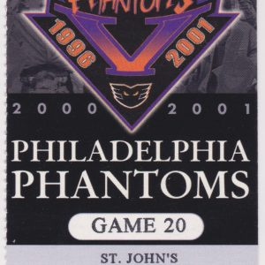 2001 AHL Philadelphia Phantoms ticket vs St. John's Maple Leafs 1/2/2001