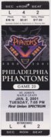 2001 AHL Philadelphia Phantoms ticket vs St. John's