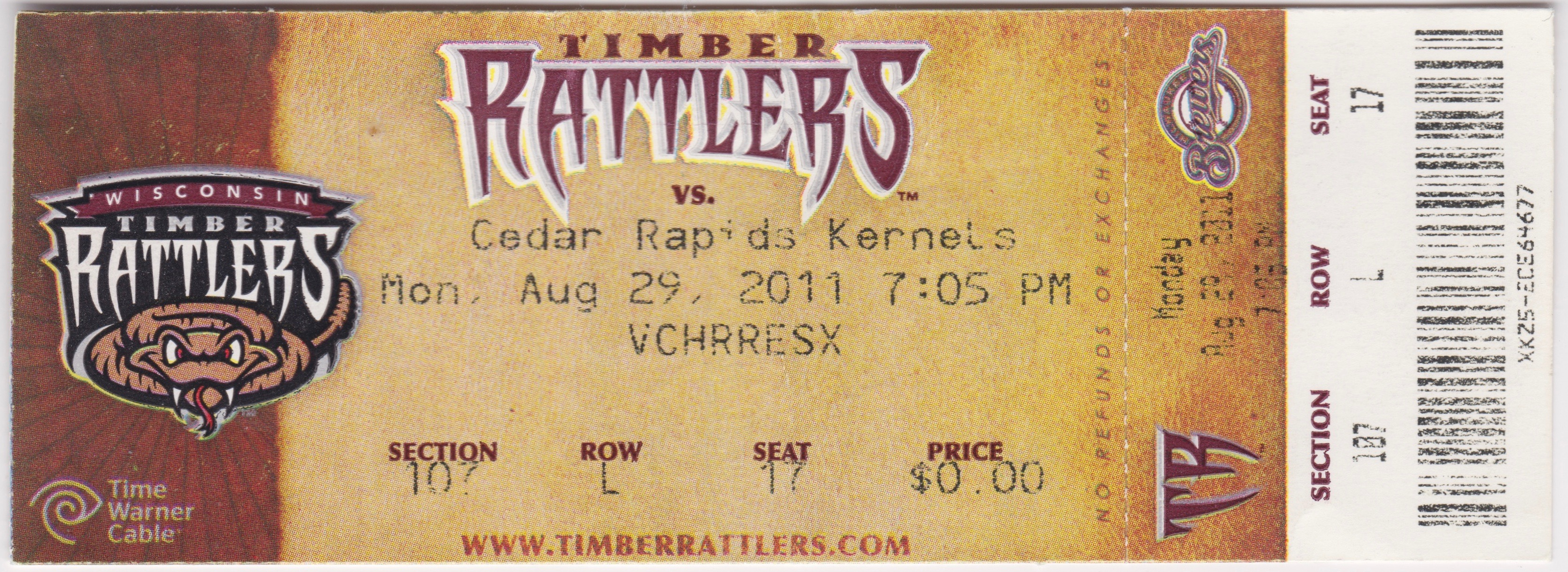 2011 Wisconsin Timber Rattlers ticket vs Kernels