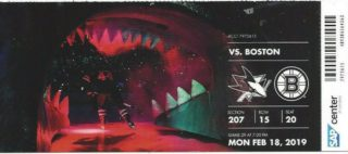 2019 NHL Sharks ticket vs Bruins