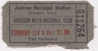 Jackson Baseball Mets ticket stub - date unknown