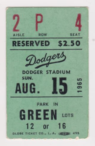 1965 Los Angeles Dodgers ticket stubs vs Pirates