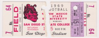 1969 NCAAF San Diego State ticket stub vs New Mexico State