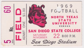 1969 San Diego State ticket stub vs North Texas State