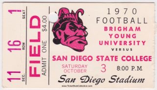1970 San Diego State ticket stub vs BYU