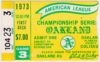 1973 ALCS Game 3 ticket stub Athletics vs Orioles