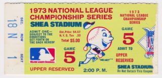 1973 NLCS Game 5 ticket stub Mets vs Reds