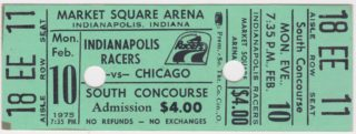 1975 Indianapolis Racers ticket stub vs Chicago