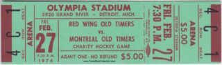 1976 Old Timers Game ticket stub Canadiens vs Red Wings