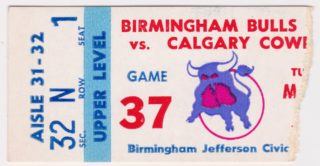 1977 Birmingham Bulls ticket stub vs Calgary Cowboys