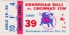1977 Birmingham Bulls ticket stub vs Cincinnati