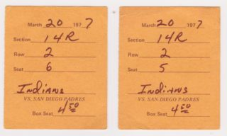 1977 Padres Spring Training ticket stubs vs Indians
