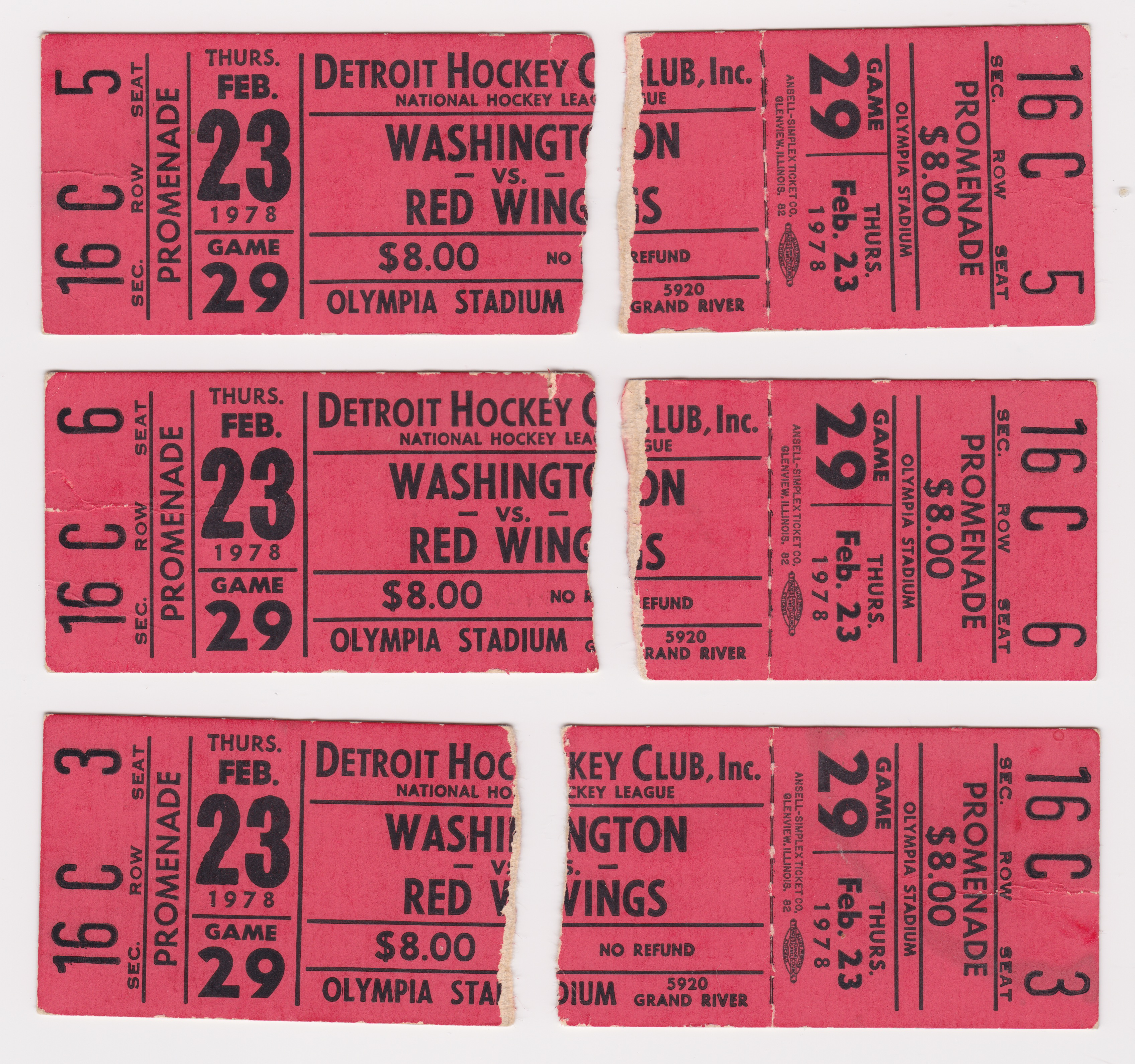 1978 Detroit Red Wings ticket stubs vs Washington Capitals