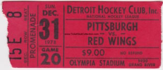 1978 NHL Pittsburgh Penguins at Detroit Red Wings ticket stub