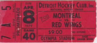1979 Detroit Red Wings ticket stubs vs Montreal Canadiens
